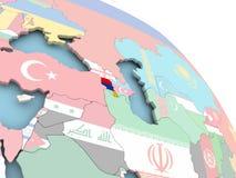 Flag of Armenia on globe. 3D render of Armenia with flag on bright globe. 3D illustration Stock Photography