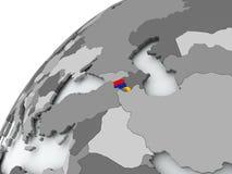 Flag of Armenia on grey globe. Armenia with embedded flag on globe. 3D illustration Stock Images