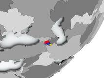 Flag of Armenia on map. Armenia on political globe with flag. 3D illustration Stock Photography