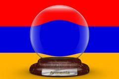 Flag of Armenia on snow globe. Flag of Armenia on a snow globe background royalty free illustration
