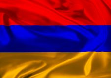 Flag of Armenia waving in the wind Royalty Free Stock Image