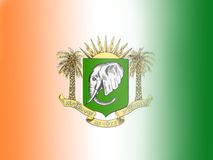 FLAG AND ARMS OF THE IVORY COAST Royalty Free Stock Photos