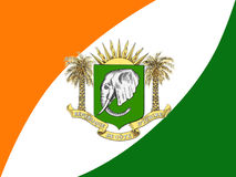 FLAG AND ARMS OF THE IVORY COAST Stock Images