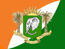 FLAG AND ARMS OF THE IVORY COAST Stock Image