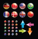 Flag and Arrow button Royalty Free Stock Photos