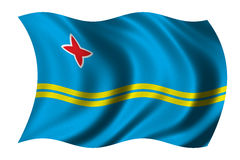 Flag of Aruba. Waving in the wind - clipping path included Royalty Free Stock Photo