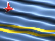 Flag of Aruba. Computer generated illustration with silky appearance and waves royalty free illustration