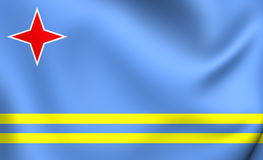 Flag of Aruba. 3D Flag of the Aruba. Close Up Stock Images