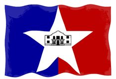 San Antonio City Flag. The flag as adopted by the city of San Antonio waving in the breeze stock illustration