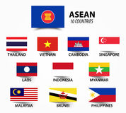Flag of ASEAN  Association of Southeast Asian Nations  and membership . Royalty Free Stock Photography