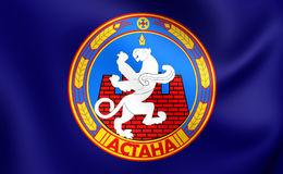 Flag of the Astana, Kazakhstan. Stock Photography