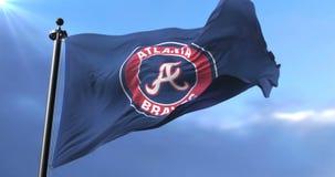Flag of the Atlanta Braves, american professional baseball team, waving - loop. Flag of the team of the Atlanta Braves, american professional baseball team stock video