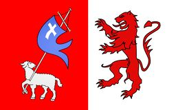 Flag of Auch, France. Flag of Auch is a commune in southwestern France. Located in the region of Midi-Pyrenees, it is the capital of the Gers department. Auch is royalty free illustration