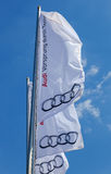 The flag of Audi over blue sky Stock Photo