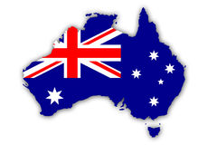 Flag of Australia. Flag and Map of Australia - Union Jack And Southern Cross On Blue Royalty Free Stock Photo