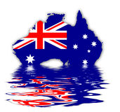 Flag of Australia. Flag and Map of Australia - Union Jack And Southern Cross On Blue Royalty Free Illustration