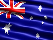 Flag of Australia. Computer generated illustration with silky appearance and waves Royalty Free Stock Image