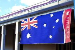 Flag of Australia on Australian house. The Flag of Australia on front. of Australian house  Copy space royalty free stock image