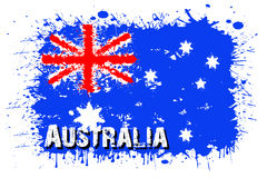 Flag of Australia from blots of paint. In grunge style. Vector illustration Royalty Free Stock Photo
