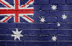 Flag of Australia on brick wall. Flag of Australia painted onto a grunge brick wall Royalty Free Illustration