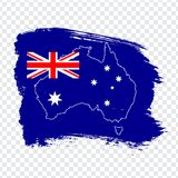Flag of Australia from brush strokes and Blank map Australia. High quality map of Australia on transparent background. Stock vecto. R. Vector illustration EPS10 vector illustration