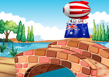 The flag of Australia carried by floating balloon Royalty Free Stock Photos