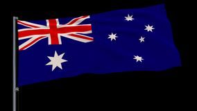 Flag of Australia on a flagpole on a transparent, 4k prores 4444 footage with alpha. Isolate flag of Australia on a flagpole fluttering in the wind on a vector illustration