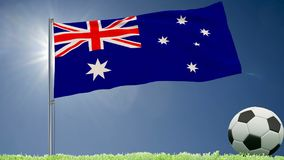 Flag of Australia fluttering and a football rolls on the lawn, 3d rendering. Flag of Australia fluttering and a football rolls on the lawn, 3d rendering Stock Images