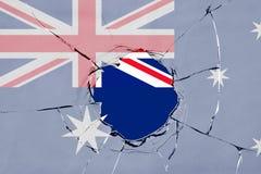 Flag of Australia on glass. Flag of Australia on a on glass breakage royalty free illustration
