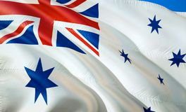 Flag of Australia naval ensign. 3D Waving flag design. The national symbol of Australia naval ensign, 3D rendering. National. Colors of Australia naval ensign royalty free stock images
