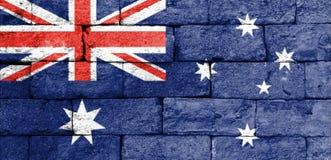 Flag of Australia on old brick wall. Stock Photography