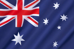 Flag of Australia. Originally adopted on 3rd September 1901. The seven pointed commonwealth star version was introduced on 23rd February 1908..The flag became Royalty Free Stock Photo