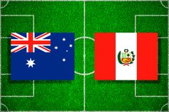 Flag Australia - Peru on the football field. Football match.  Royalty Free Stock Images