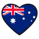Flag of Australia in the shape of Heart with contrasting contour. Symbol of love for his country, patriotism, icon for Independence Day Royalty Free Stock Photos