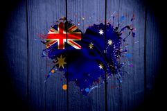 Flag of Australia in the shape of heart on a dark background. Flag of Australia in the shape of heart Vector Illustration