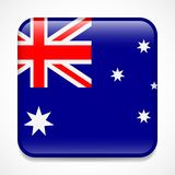 Flag of Australia. Square glossy badge.  royalty free illustration