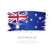 Flag of Australia. Vector illustration on white background. Brush strokes drawn by hand. Independence Day in Australia royalty free illustration
