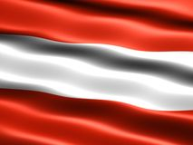 Flag of Austria. Computer generated illustration of the flag of Austria with silky appearance and waves Stock Photos