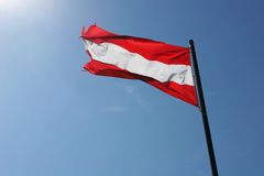 Flag of Austria. The national flag of Austria waving in the wind Stock Photography