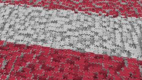 Flag of Austria being made with jigsaw puzzle pieces. Austrian problem solution conceptual 3D rendering. Flag made of puzzle pieces, conceptual 3D vector illustration