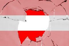 Flag of Austria on glass. Flag of Austria on a on glass breakage stock illustration