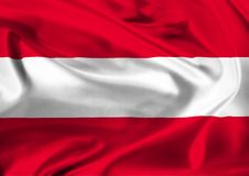 Flag of Austria waving in the wind Royalty Free Stock Photo