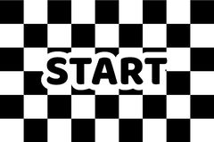 Flag auto racing, inscription start, flat icon. Symbol of start and finish of race cars on route. Vector illustration of chess canvas Royalty Free Stock Photo
