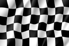 Flag auto racing, waving realistic banner. Symbol of start and finish of race cars on route. Vector illustration of chess canvas Royalty Free Stock Photography