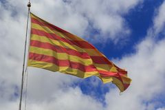 Flag of the Autonomous Community of Catalonia, Spain Stock Photo