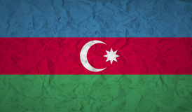 Flag of Azerbaijan with the effect of crumpled paper and grunge Stock Photo