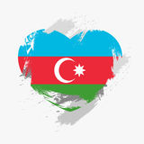 Flag of Azerbaijan. On grunge heart. Vector illustration Stock Illustration