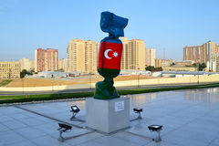 Flag of the Azerbaijan. In Heydar Aliyev Center, in Baku Stock Photo