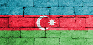 Flag of Azerbaijan on old brick wall. Stock Photography