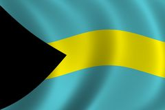 Flag of Bahamas. Waving in the wind Royalty Free Stock Images